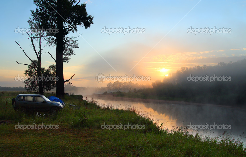 Fog sunrise on the river with camping  Stock Photo #1770882