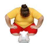 Overweight women on scales — Stock Photo