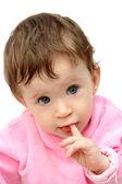 Baby sání prstů portrét — Stock fotografie