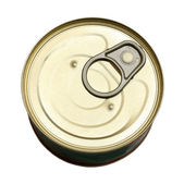 Tin with canned goods — Stock Photo