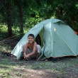 Happy boy near camping tent — Stock Photo #2458026