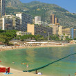 Sandy beach in Monte Carlo, Monaco - Stock Photo