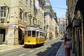Typical yellow tram in Lisbon — Photo