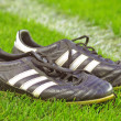 Stock Photo: Football boots on grass
