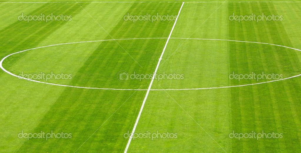 Football soccer empty green field — Foto de Stock   #1138440