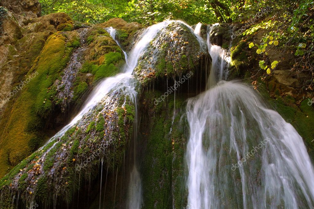 Waterfall in forest, long exposure — Stock Photo #1138500