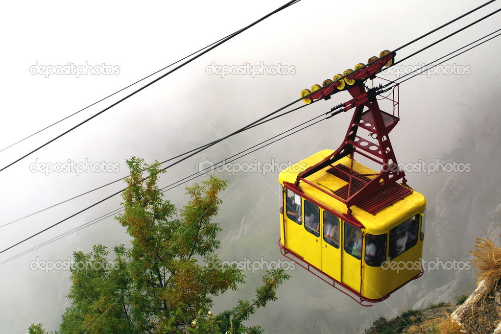 Cable railway in the mountains   #1138557