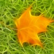 Fractal with fallen yellow maple leaf - Stock Photo