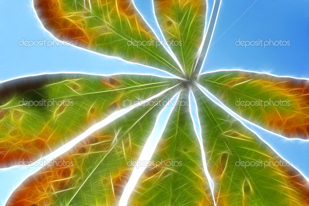 Abstract fractal image with close-up chestnut leaves — Stock Photo #1159156