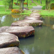 Stock Photo: Stoneway and small lake in garden