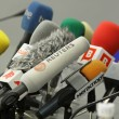 Microphones on a table - Stock Photo