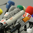 Stock Photo: Microphones on table