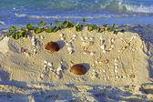 Joyeux Noel handwritten on a sand — Stock Photo