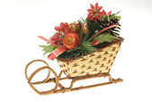 Christmas straw sleigh — Stock Photo