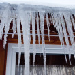 Icicles on roof — Stock Photo