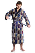 Man dressing bathrobe — Stock Photo