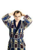 Man dressing bathrobe — Stock Photo