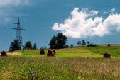 Ländliche landschaft und elektrifizierte strecke — Stockfoto