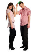 Couple comb oneself — Stock Photo