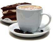 Coffee and chocolate cake — Stock Photo