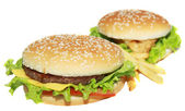 Delicious cheeseburger with french fries — Stock Photo