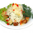Stock Photo: Chicken caeser salad isolated on a white