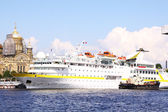 Luxury white cruise ship shot at angle a — Stock Photo