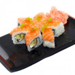 Japanese cuisine: seafoods sushi — Stock Photo