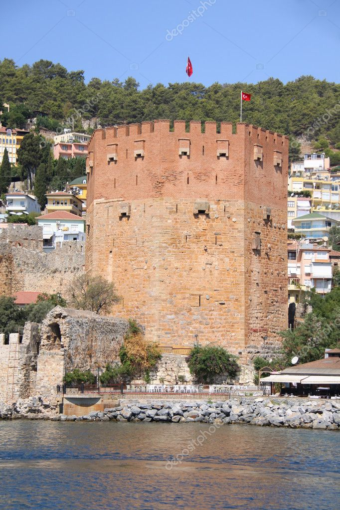 Red brick tower in Alanya — Stock Photo #1680190
