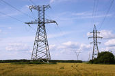 Electric tower in the forest — Stock Photo