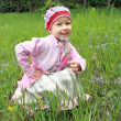 The joyful girl on a wood glade — Stock Photo