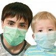 Children in medical masks - Stock Photo