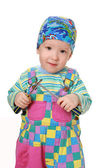The ridiculous kid with screw-drivers in — Stock Photo