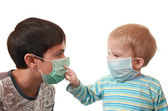 Children in medical masks — Stock Photo