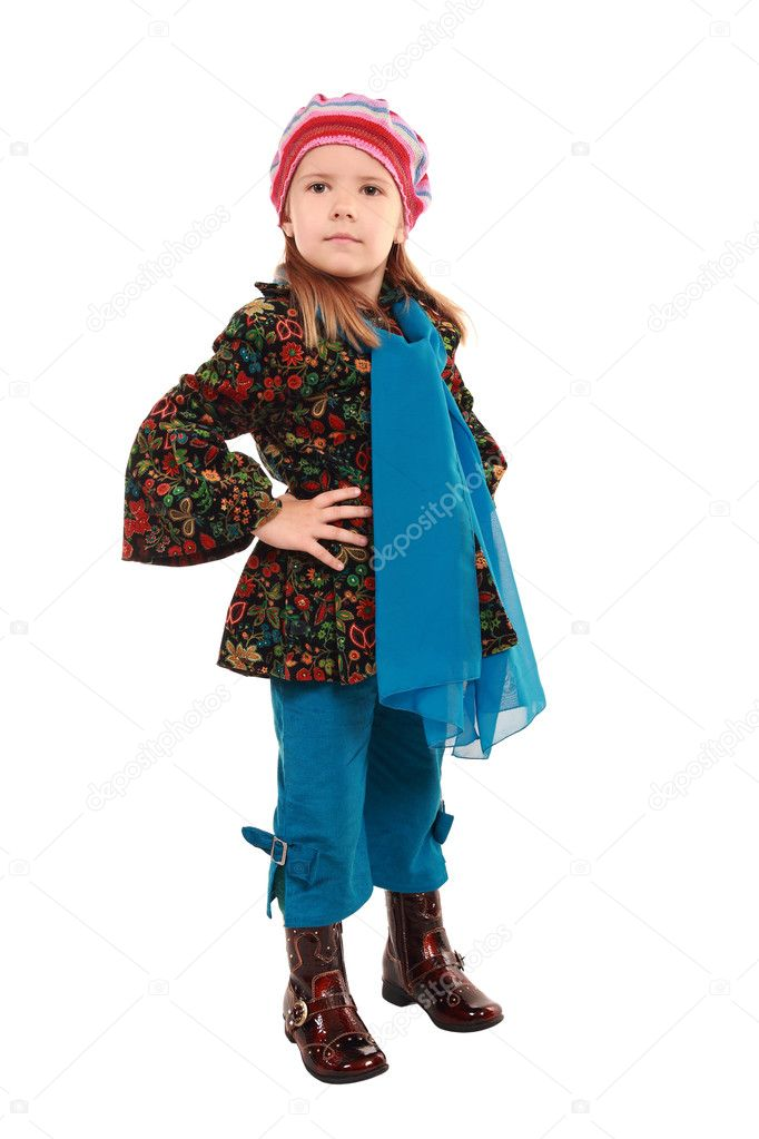 The girl poses in new clothes and footwear — Stock Photo #1118235
