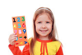 Girl with a set of digits — Stock Photo