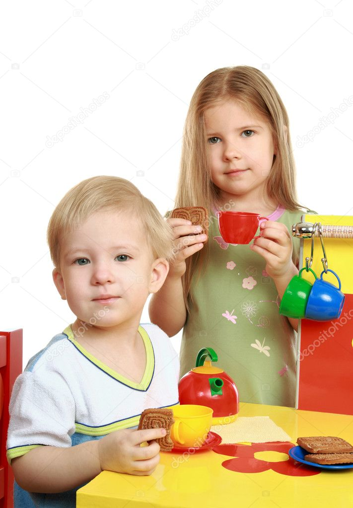 Children play family tea drinking  — Stock Photo #1137392