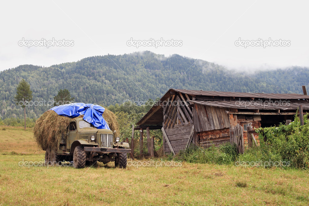 The lorry with hay on a background of the Altay mountains — Stock Photo #1137654