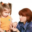 The embarrassed girl and strict mum - Stockfoto