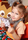 The girl with a paper snowflake — Stock Photo