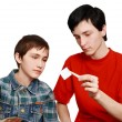 Stock Photo: TWO BROTHERS ARE CONSIDERING STAMPS
