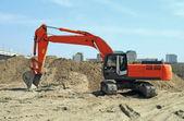 Modern construction machinery: a dredge — Stock Photo