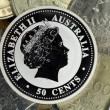 Silver coin on a background usual — Stock Photo