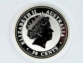 Silver coin of Australia face value of 5 — Stock Photo