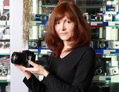 Prodávající fototechniku — Stock fotografie