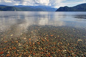 Transparent water of lake Teletskoe — Stock Photo