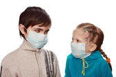 Children in medical masks — Stock Photo