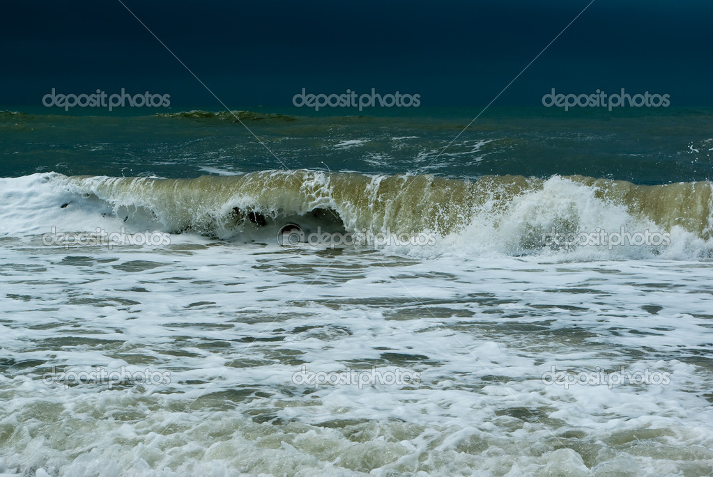 Wave curve in the waters of Atlantic ocean  Stock Photo #1275297