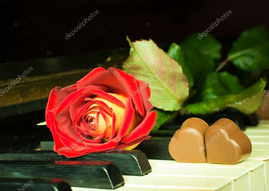Red and yellow rose with heart-shaped chocolate sweets on a keys of ancient piano — Stock Photo #1885520