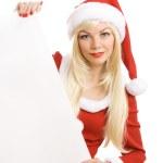 Female Santa Claus holding blank sign — Stock Photo #1292381